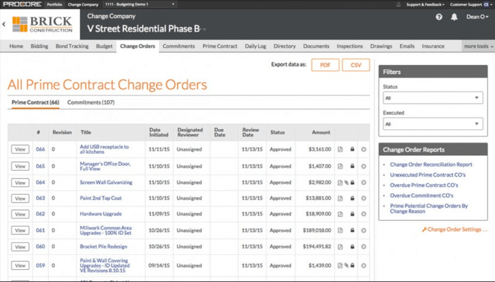 6. Managing change orders in Procore