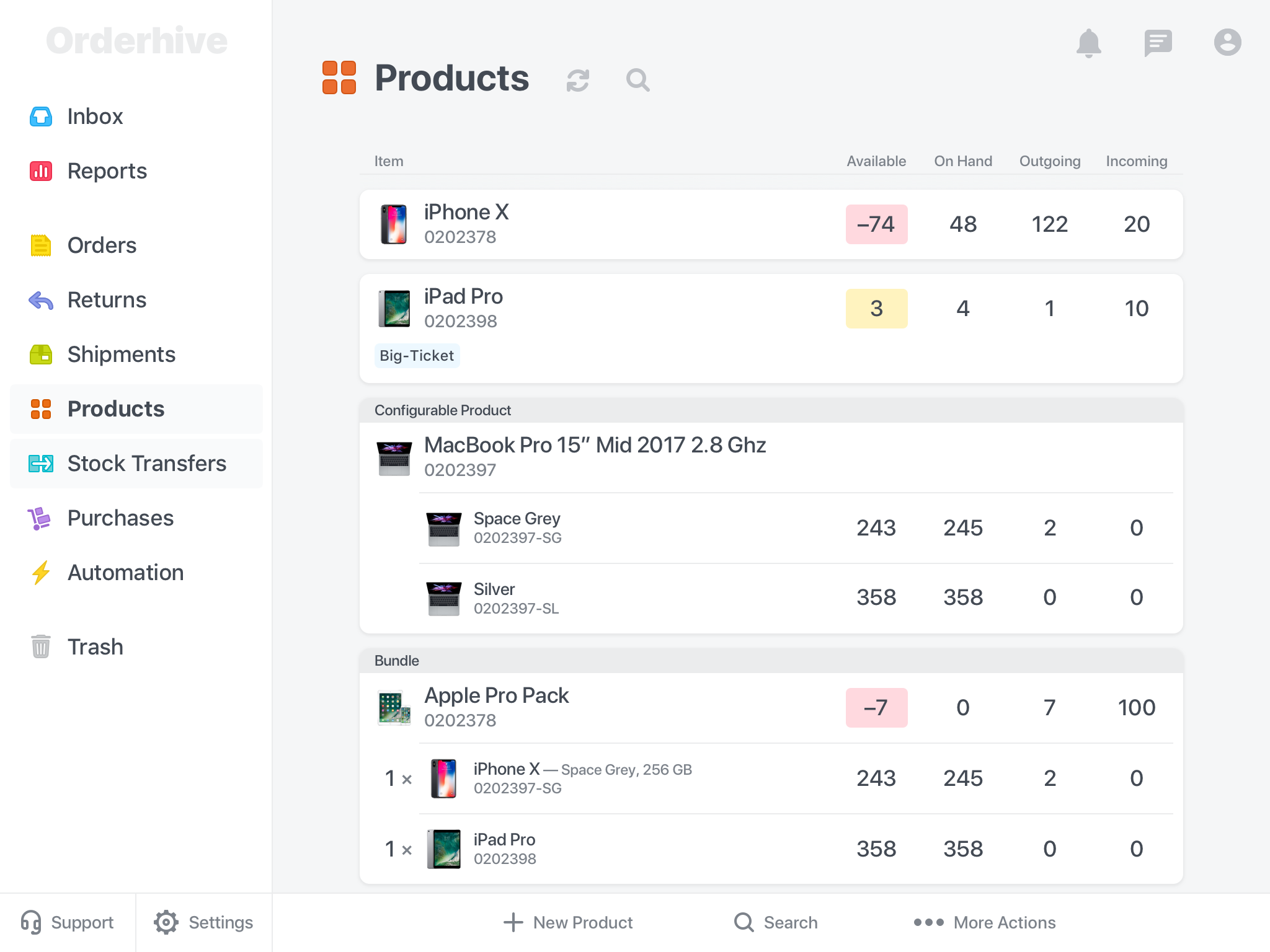 Inventory tracking in Orderhive