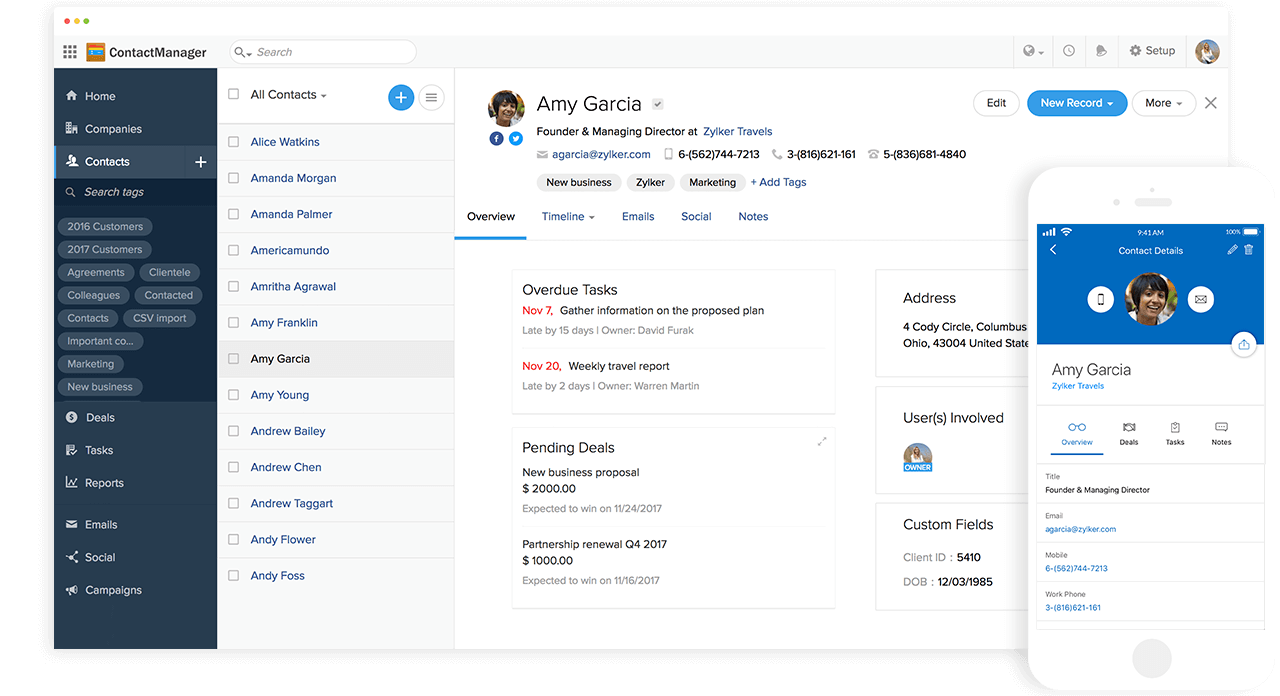 Customer contacts management in Zoho One