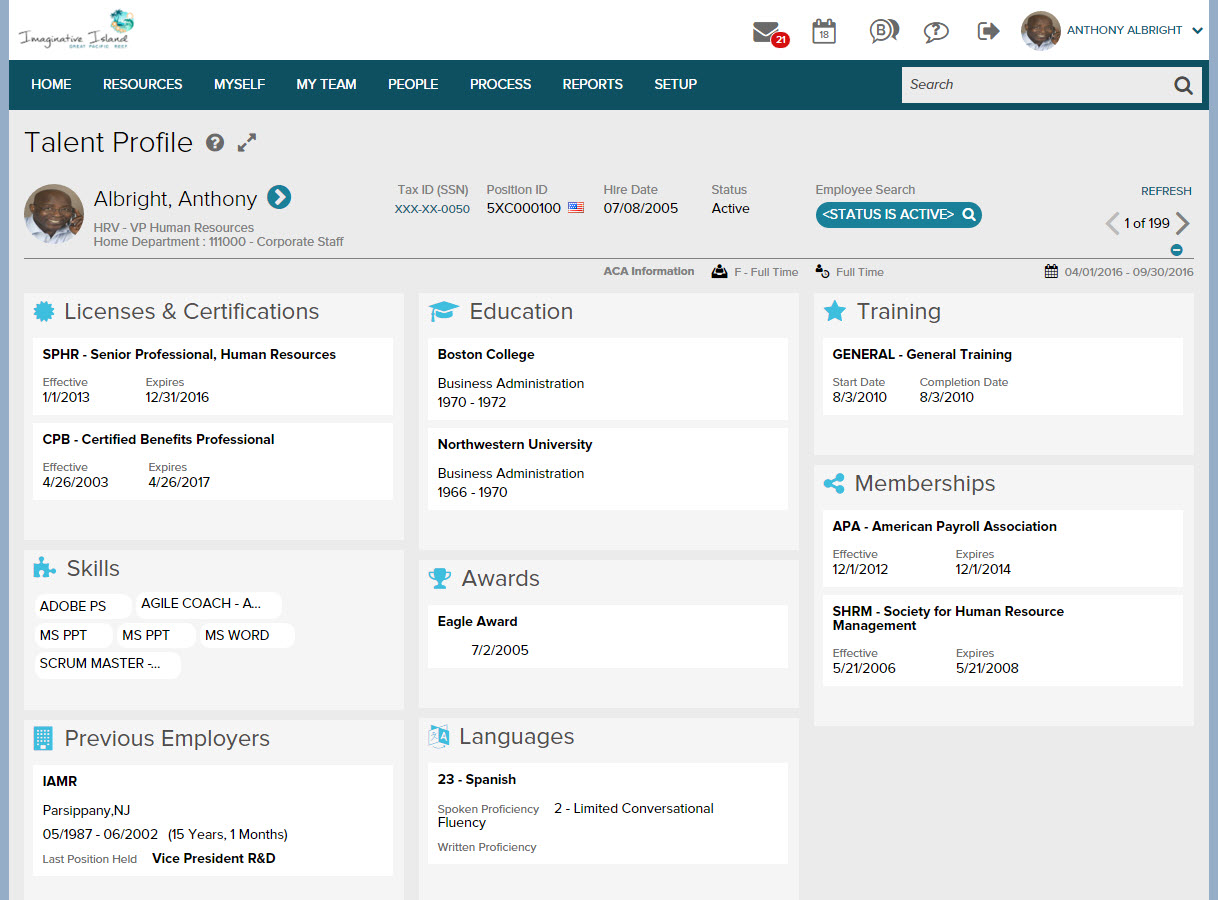 Employee profile in ADP Workforce Now