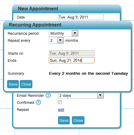 Set recurring patient appointments using DocMeIn