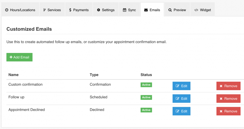 Send customized appointment reminders via email using IntakeQ software