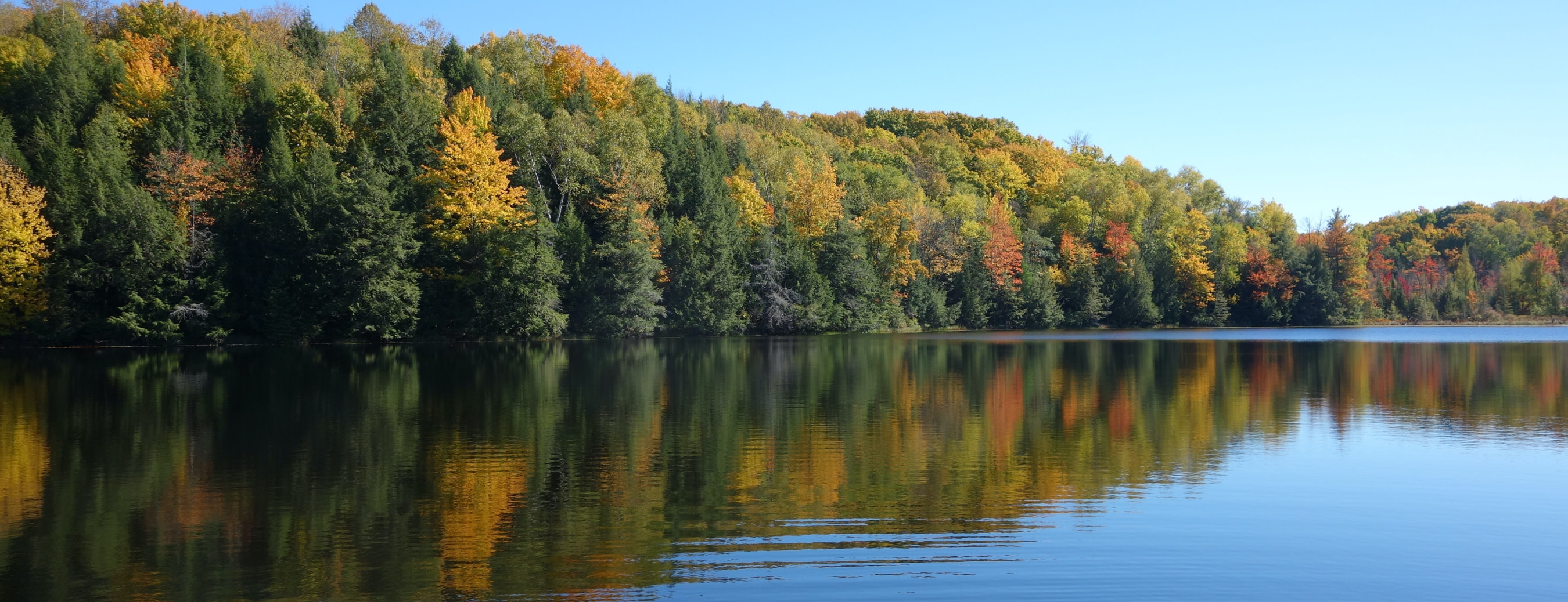 09.27.2020 - calm lake water with fall foliage representing calm before the storm