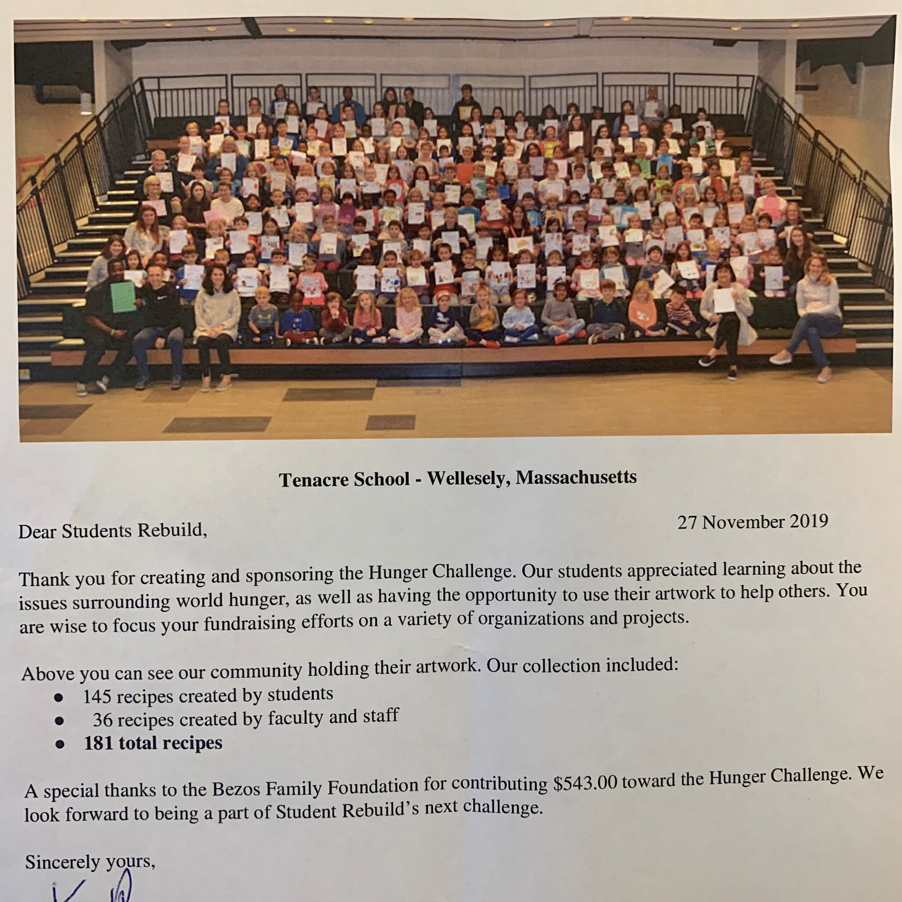 We love recieving your special notes and inspiration! This one is from Tenacre School in Massachusetts where students and staff made 181 recipes!