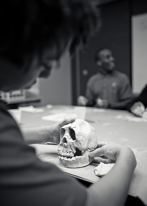 A beautiful clay skull by a student at Henry Ford Academy.