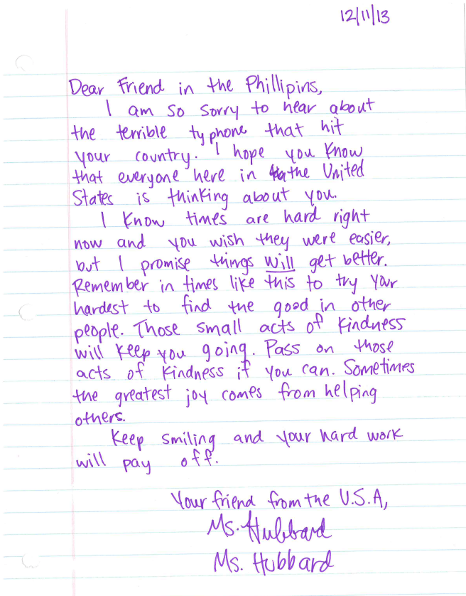 Written by Mrs. Hubbard and her classroom for the Typhoon Haiyan Challenge.