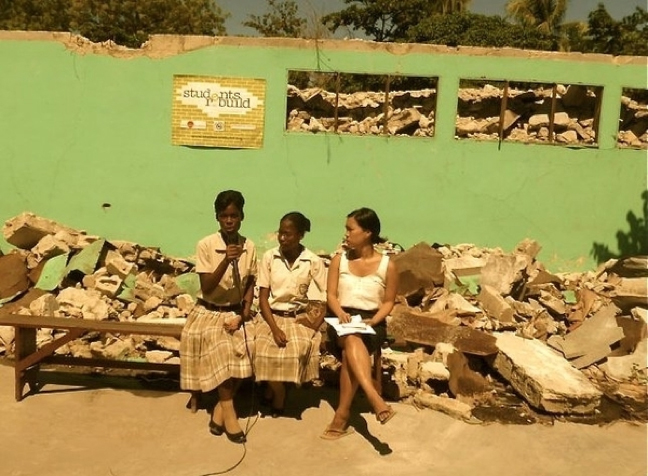 Ginette, Di, and Grace at Students Rebuild's first webcast from the Elie Dubois campus, ruins still standing, in 2010.