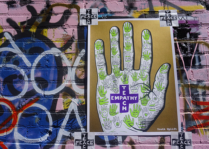 Teachr, an artist based in Los Angeles, CA, created this art piece inspired by hands made during the Youth Uplift Challenge.