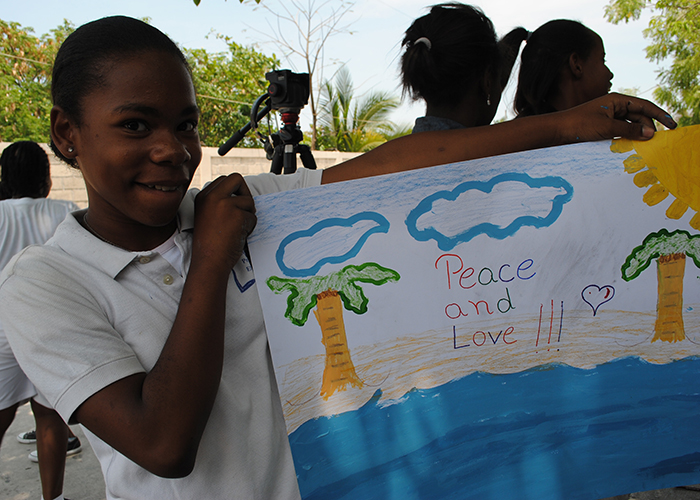 Peace and Love from a Haiti student.
