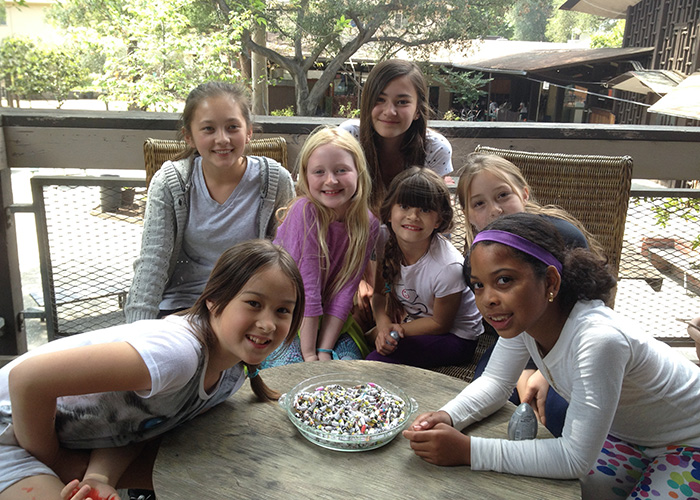 The team at Sequoyah School in Pasadena, CA with their paper beads!