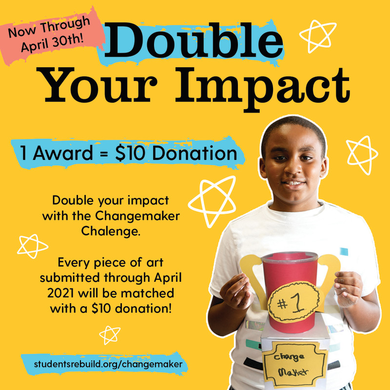 We are extending the March double campaign so every award created and submitted through the end of April will continue to be matched with a $10 donation! Woot, woot!