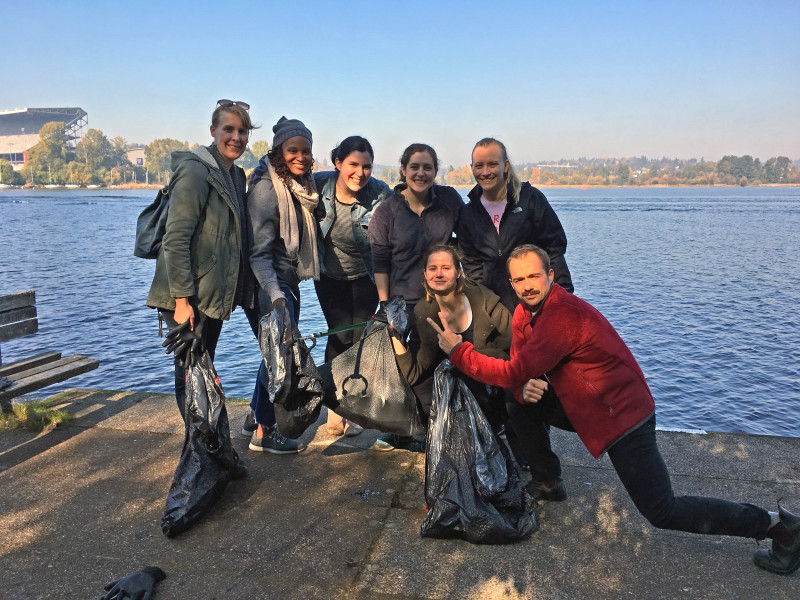Inspired by teams around the world, our team is joining students to help clean up our local water ways! Here we are with the bags of trash that we retrieved from the Madison Park Arboretum in Seattle, WA.