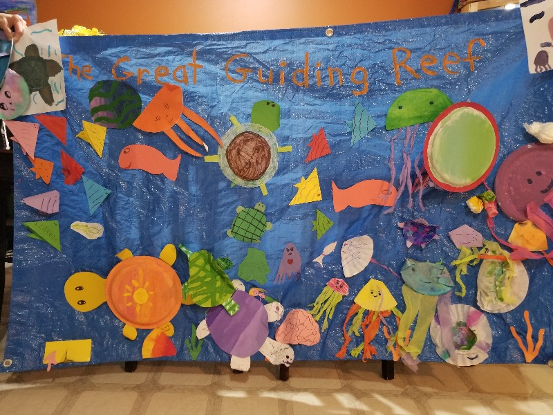 Many classrooms and groups are creating large ocean displays. This one is from Sea Saviors team of the 1st College Heights Girls Guides of Canada. Their team has submitted 38 creatures so far and raised $76!