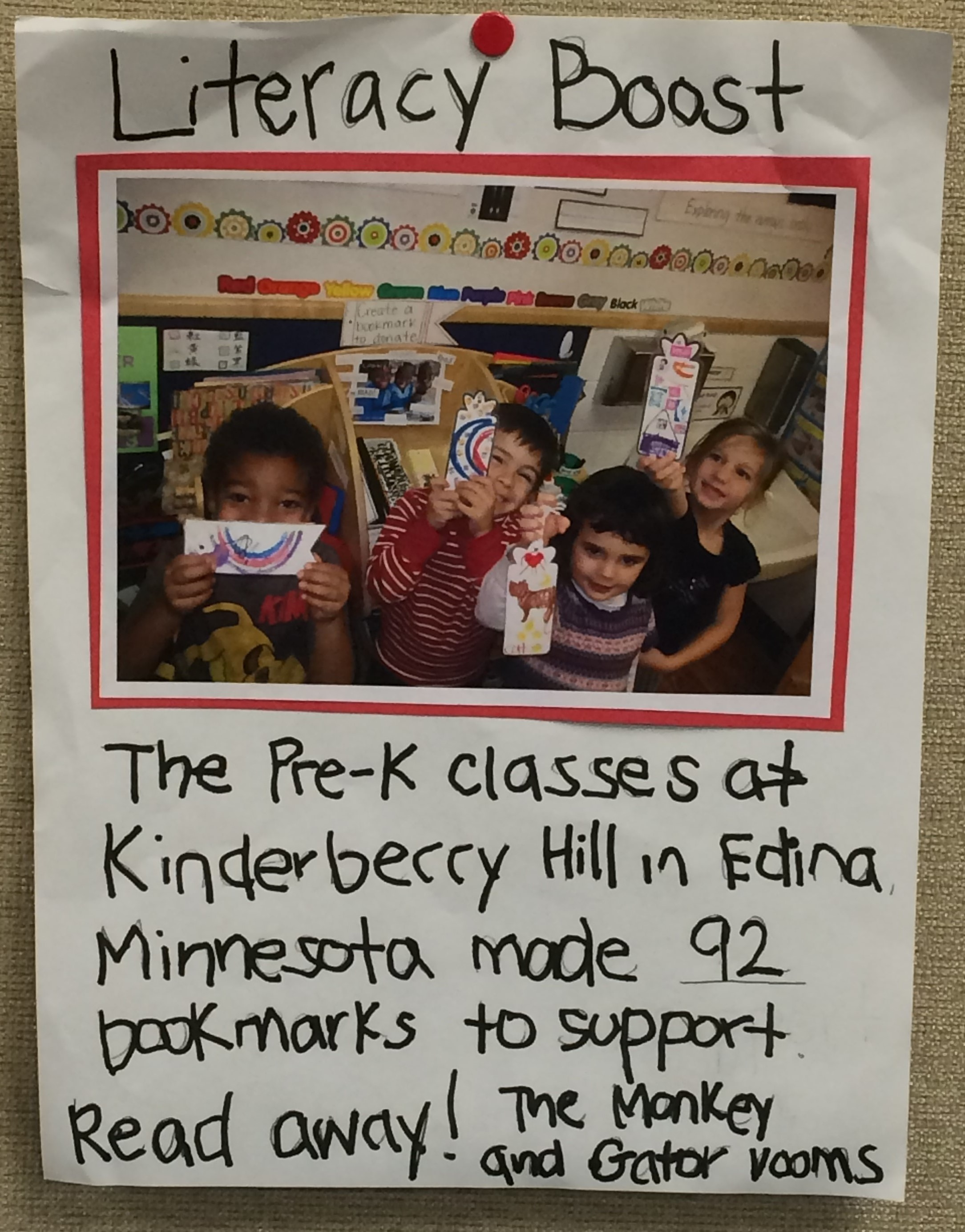 This pre-k class made 92 bookmarks to support their friends around the world in learing to read!