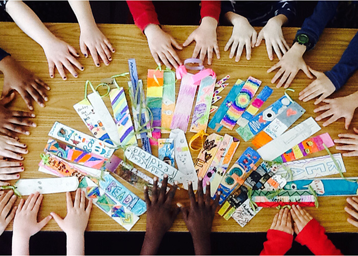 The Integrated Arts Academy team worked hard on their bookmarks for the Literacy Challenge!