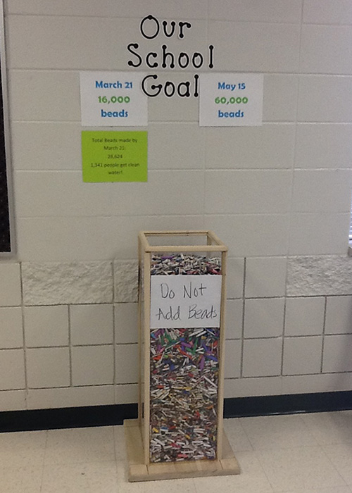 The team at Munford Elementary in Alabama kept their school on top of their goal of 16,000 paper beads!