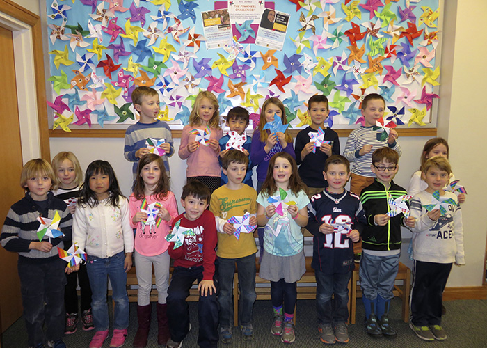 The Concord Carlisle Kids Care First Graders made plenty of pinwheels for the Healing Classrooms Challenge!