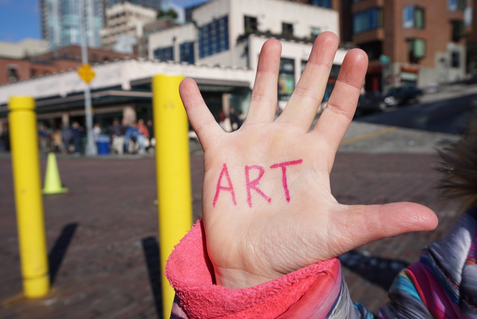Youths participate in the My Hand campaign at Pike Place Market in Seattle, WA.