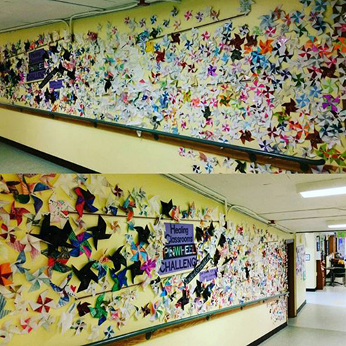 The team at John Rogers Elementary displayed their pinwheels in the school hallways!