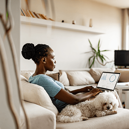 Woman working from home square hero image