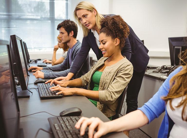 Students at computer small