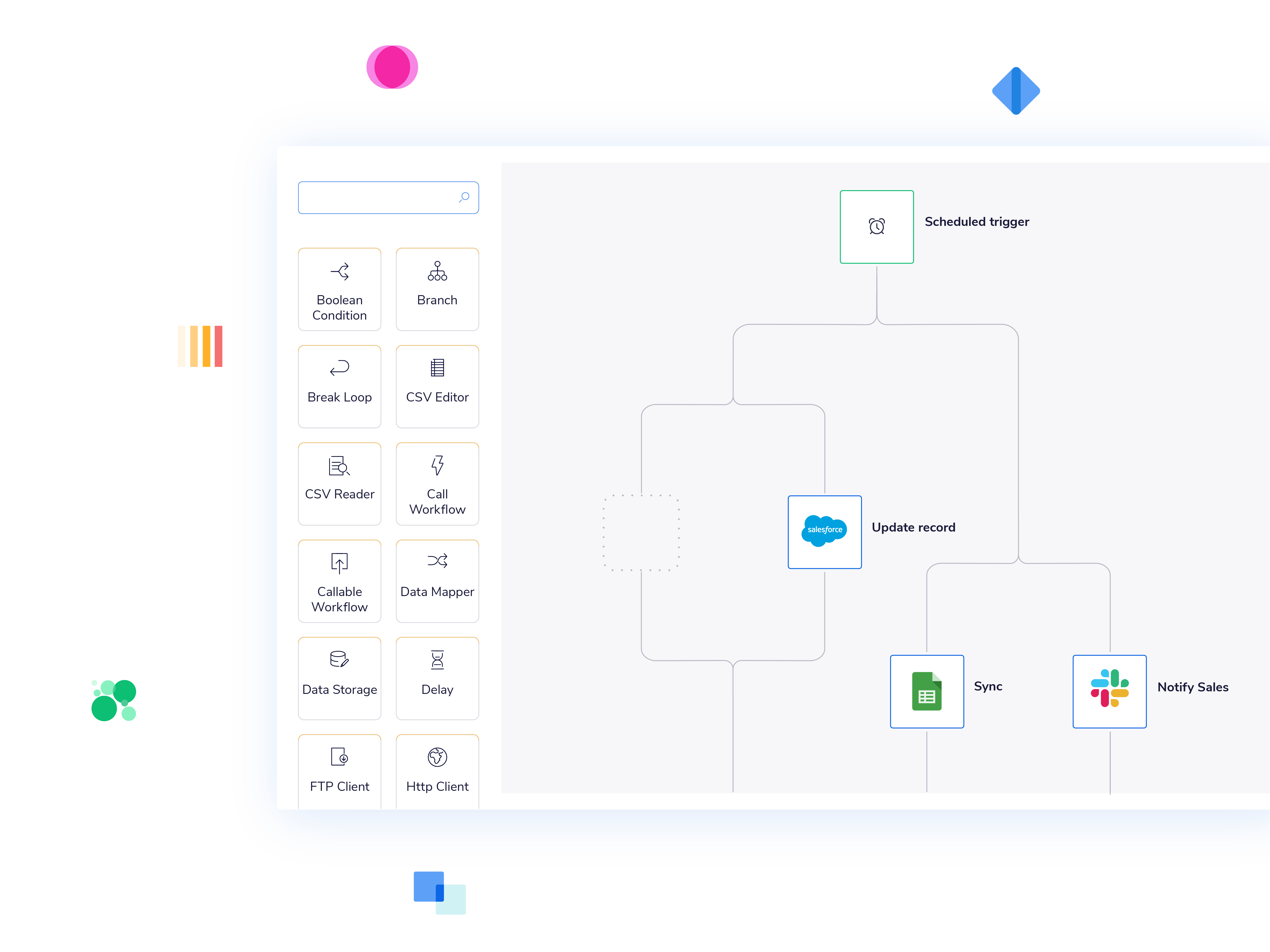 The Tray Platform gives users a robust workflow builder to quick automate across their org