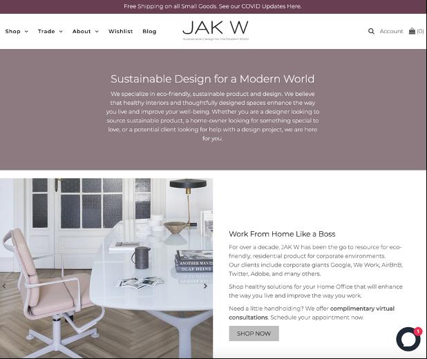 Jak W Sustainable Design Website Banner