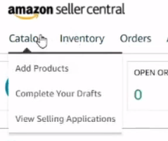 How to open Catalog tab in Amazon seller central