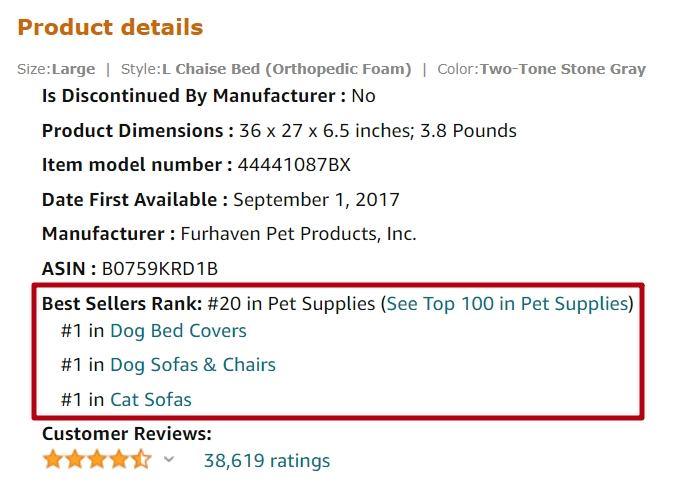 Finding items with Amazon Best Seller Links