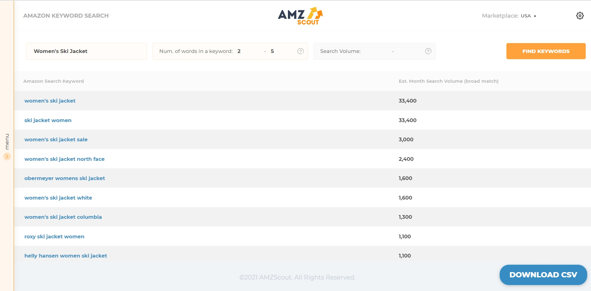 Check keywords with AMZScout to find products