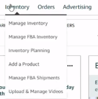 How to open Inventory tab in Amazon seller central