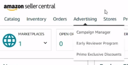 How to open Advertising tab in Amazon seller central
