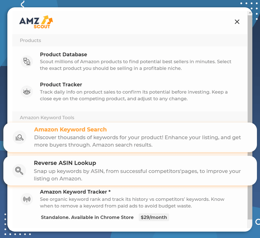 amazon product discovery amzscout keyword tools