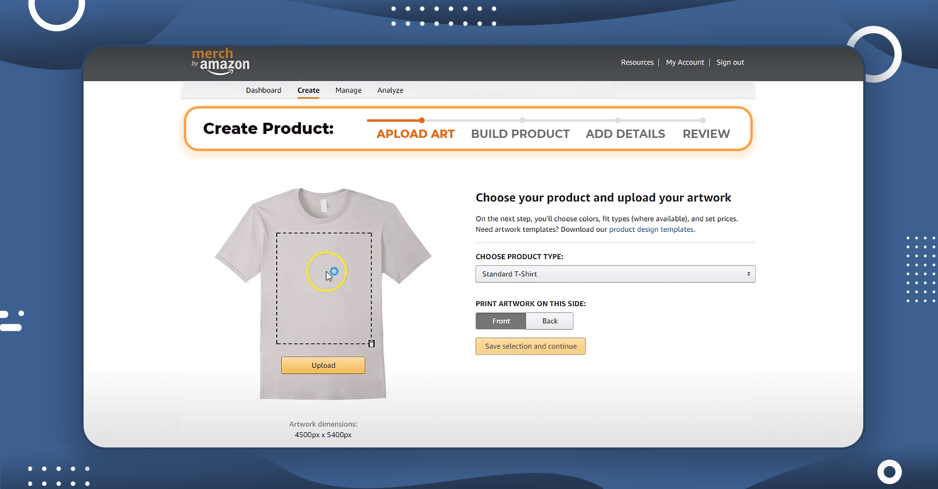 Create a product in your Merch by Amazon account