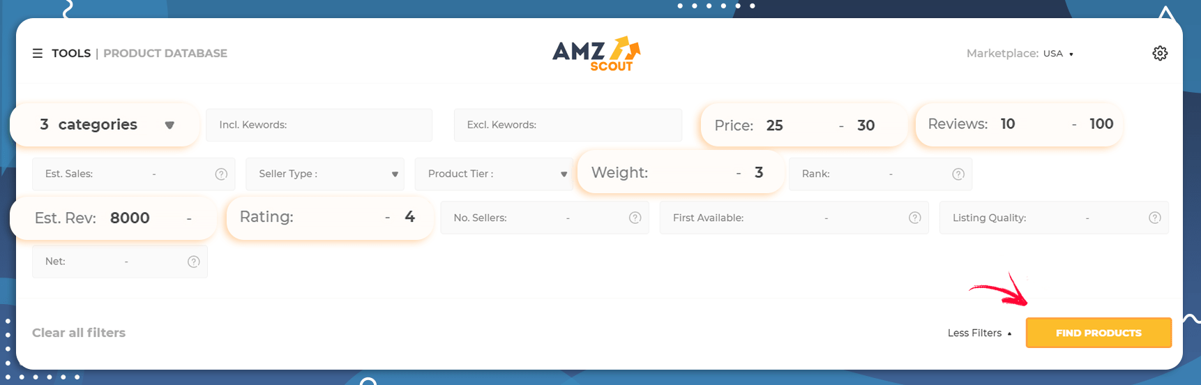Setting Filters in the AMZScout Product Database
