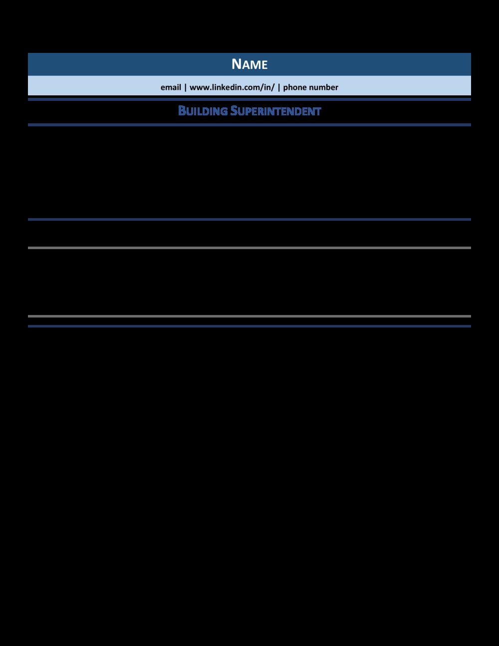 sample resume superintendent