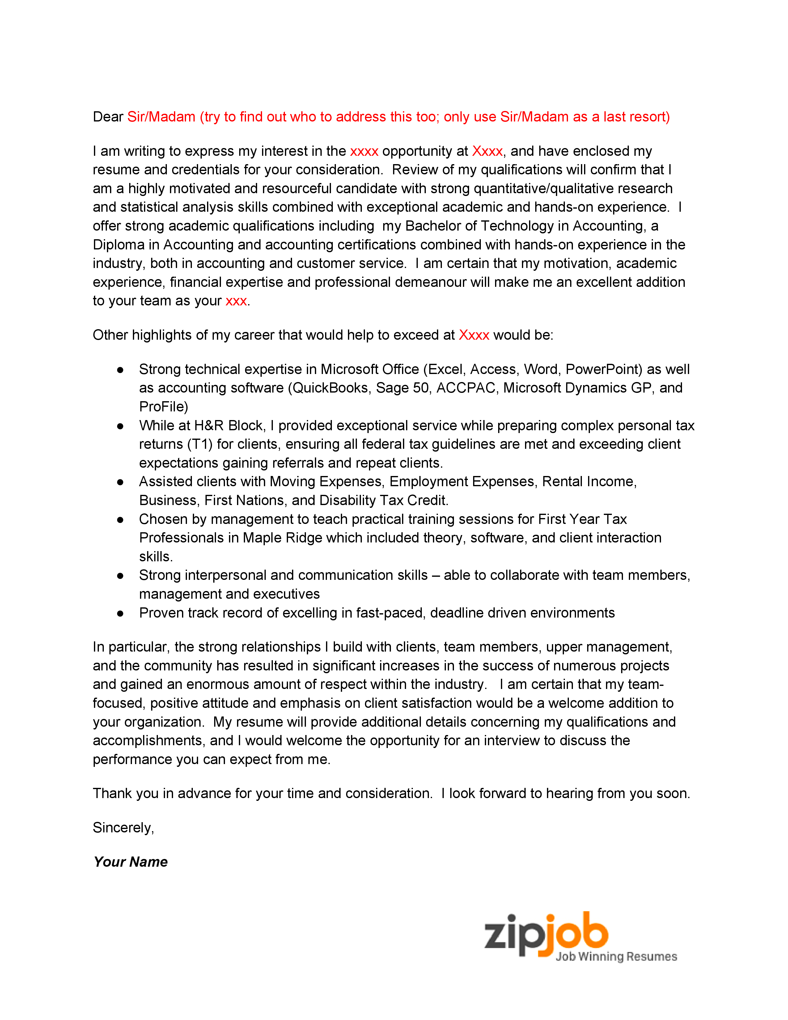 Entry Level Accounting Cover Letter Example Zipjob Zipjob