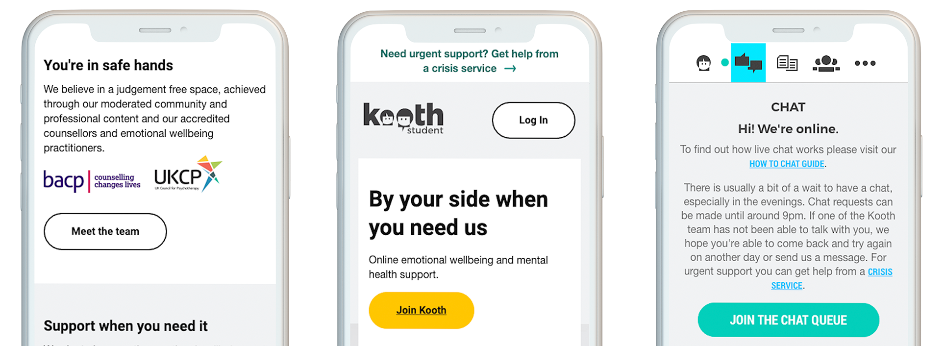 A few features you'll find on Kooth Student include mini-activities, access to discussions, as well as articles written by students and the Kooth team.