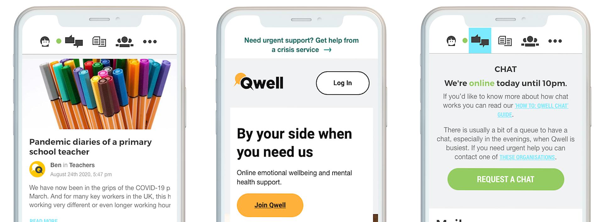 A few features you'll find on Qwell for adults include a journal, access to discussion boards, as well as articles written by other adults and the Kooth team.