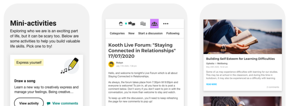 A few features you'll find on Kooth for children and young people include mini-activities, access to live forums, as well as articles written by young people and the Kooth team.
