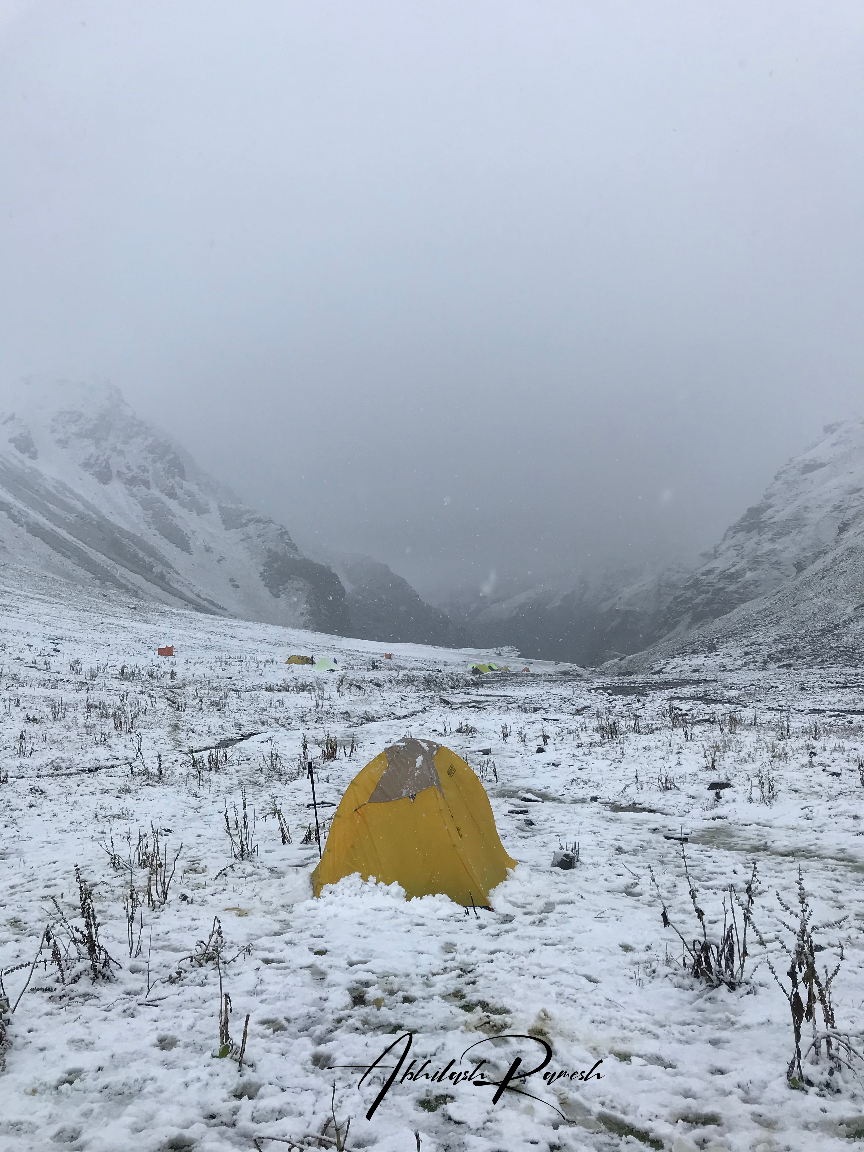 The snowfall across the valley