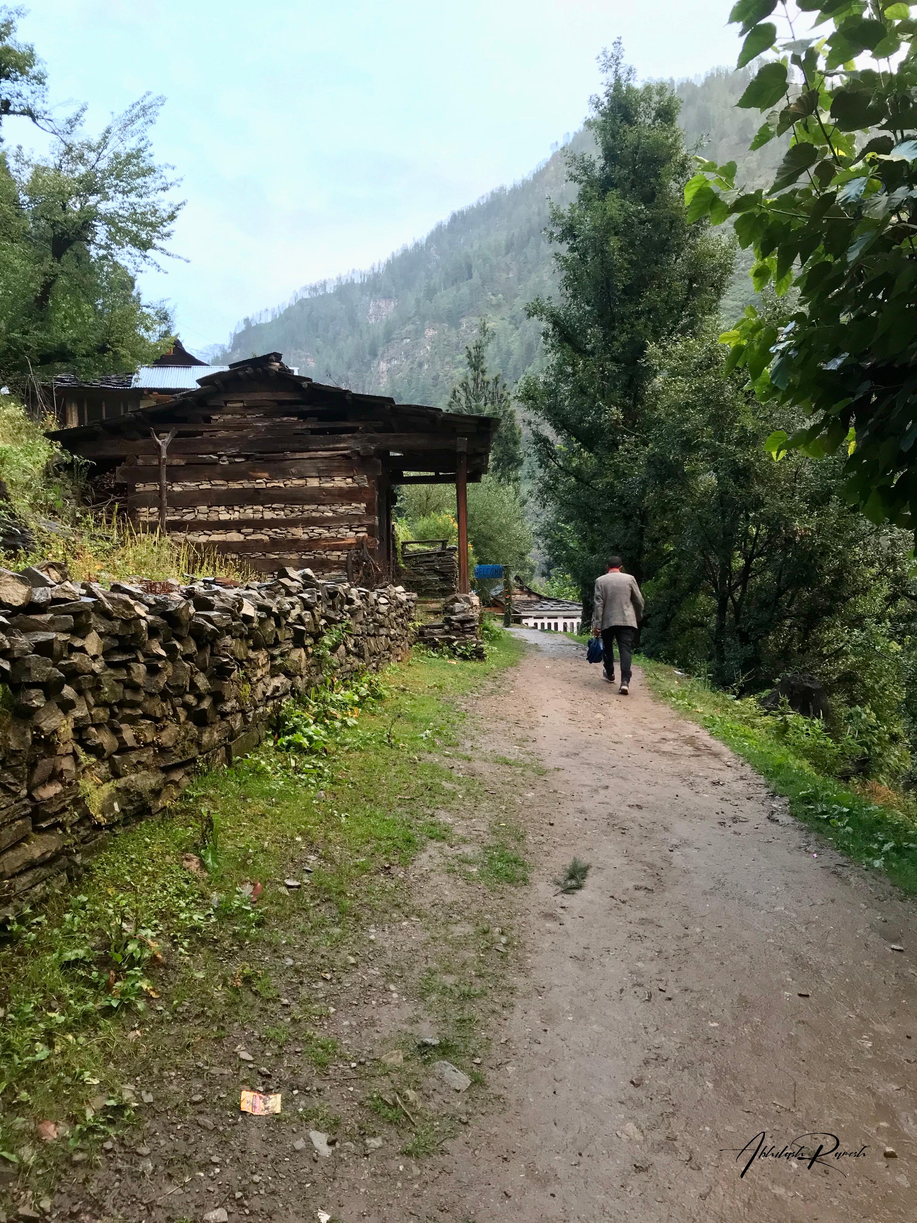 A village person walking