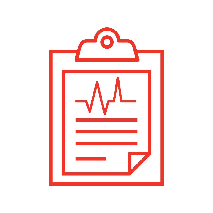 medical report icon in red