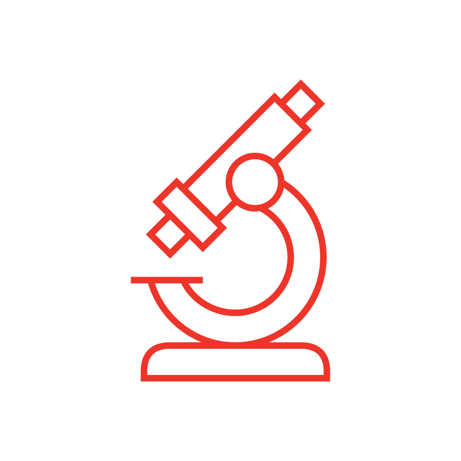 microscope icon in red