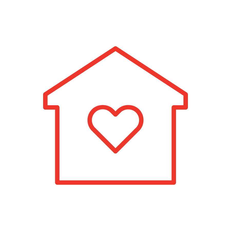 house and heart icon in red