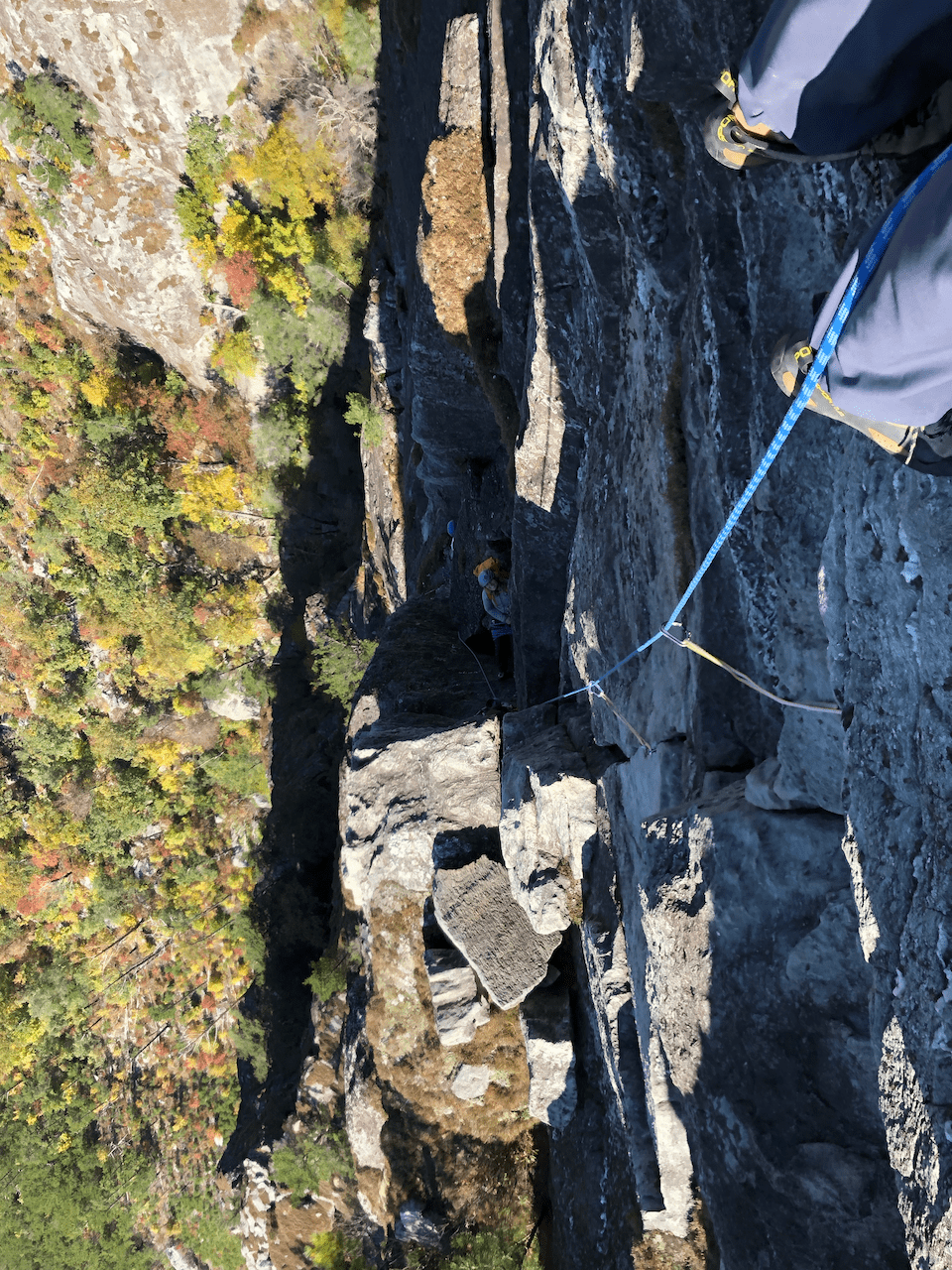 Climber Looking Down A Multi Pitch Climbing Route