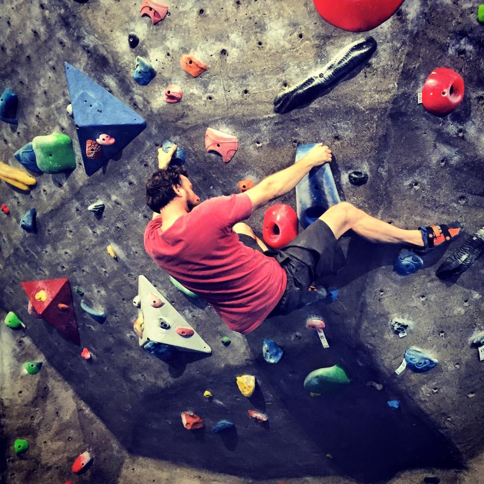 Man In Red Tshirt Bouldering