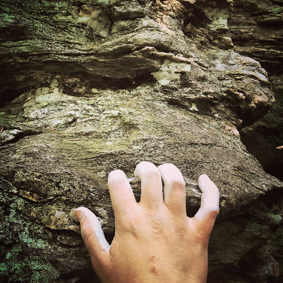 Womans Hand Open Crimping On Rock Hold