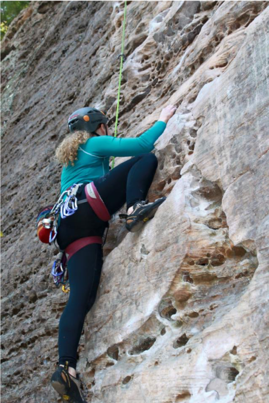 Woman Climbing Performing A High Step