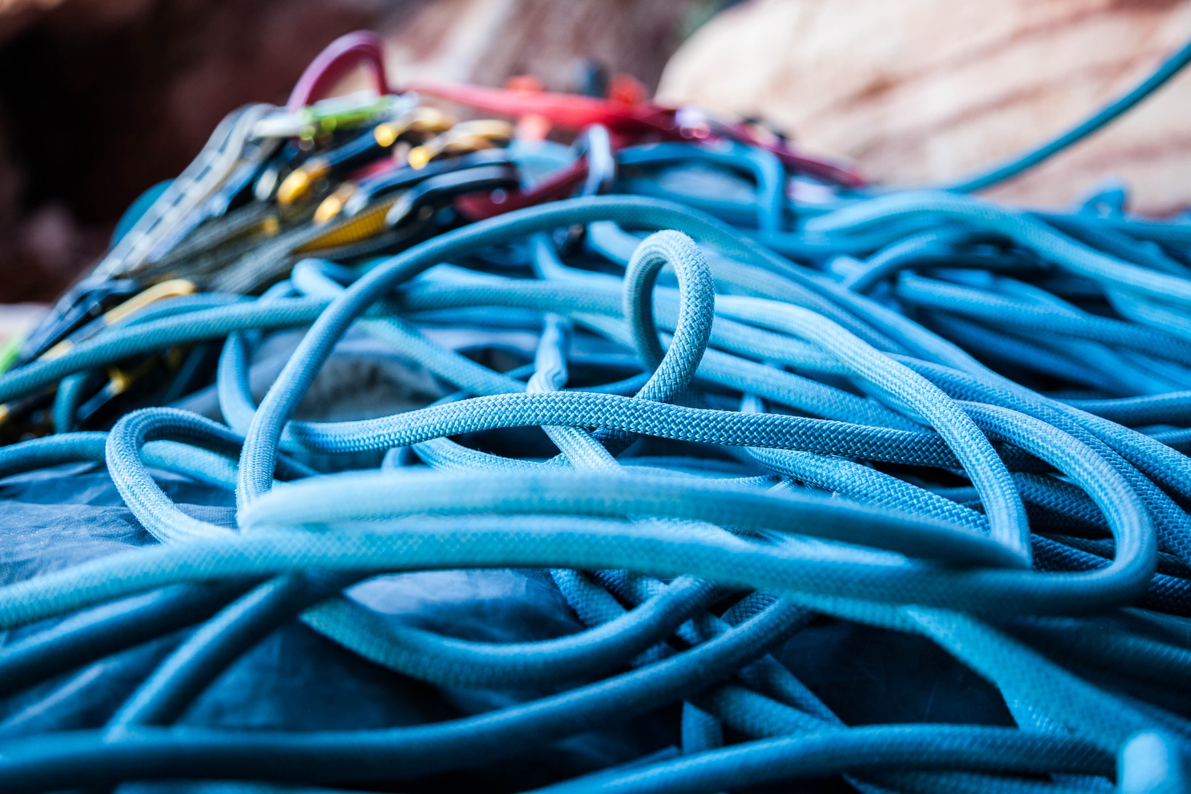 Close Up Of Blue Flaked Climbing Rope